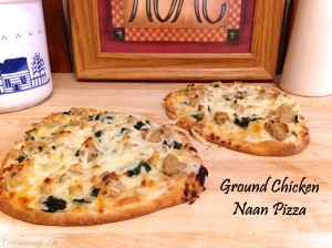 Ground Chicken Naan Pizza