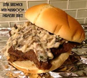 Steak Sandwich with Mushroom Parmesan Sauce