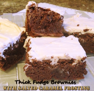 Thick Fudge Brownies with Salted Caramel Frosting